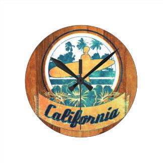 California surfboard round clock
