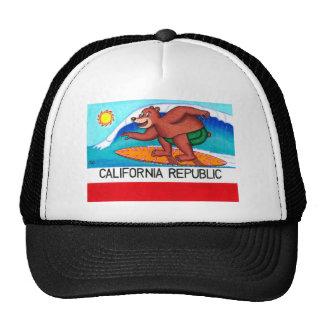 California Surfing Bear Flag Hat