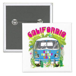 California Surfing Van 15 Cm Square Badge