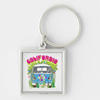 California Surfing Van Silver-Colored Square Key Ring
