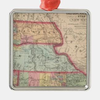 California, Territories of Oregon, Washington Silver-Colored Square Decoration