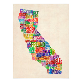 California Typography Text Map Photo Print