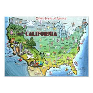 California USA Map Card 13 Cm X 18 Cm Invitation Card