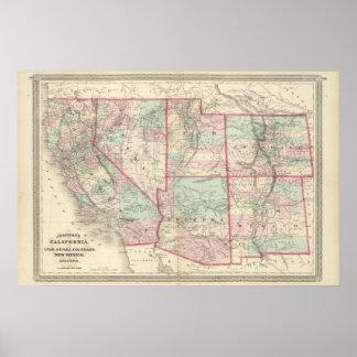 California, Utah, Nevada, Colorado Poster