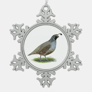 California Valley Quail Snowflake Pewter Christmas Ornament