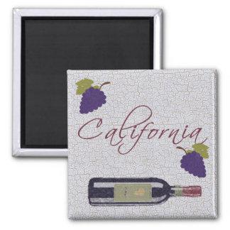 California Vintage Wine Bottle Square Magnet