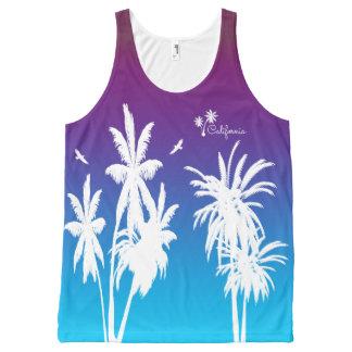 California White Palm Trees Purple Sunset Custom All-Over Print Tank Top