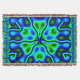 California Wildflowers in Blue and Green Throw Blanket