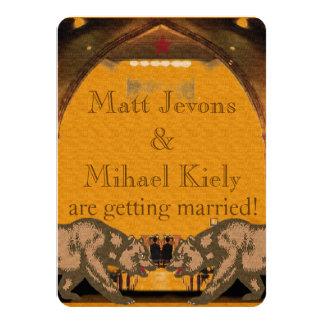 "Californian Bear Grooms Gay Wedding Announcement 4.5"" X 6.25"" Invitation Card"