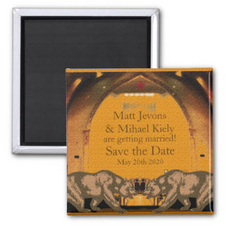 Californian Bear Grooms Gay Wedding Announcement Square Magnet