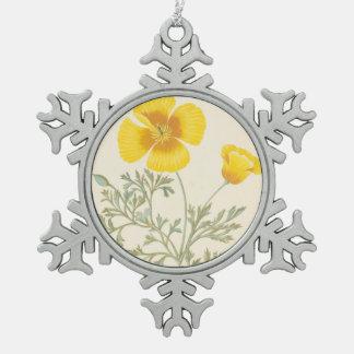 Californian Eschscholtzia Snowflake Pewter Christmas Ornament