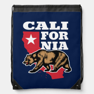 Californian Grizzly Bear and Star Drawstring Bag
