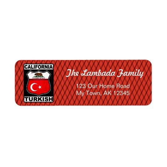 Californian Turkish American Address Labels