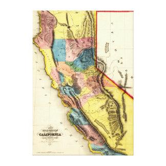 CaliforniaPanoramic Map Canvas Print