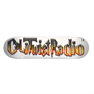 CaLiTwistRadio Orange Logo On Top OF Skateboard