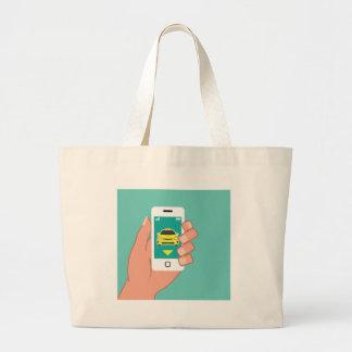 Call a Cab on Smart Phone Jumbo Tote Bag