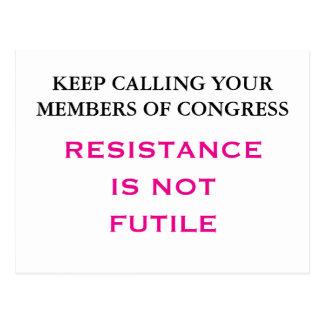 Call Congress Resistance is NOT Futile Postcard
