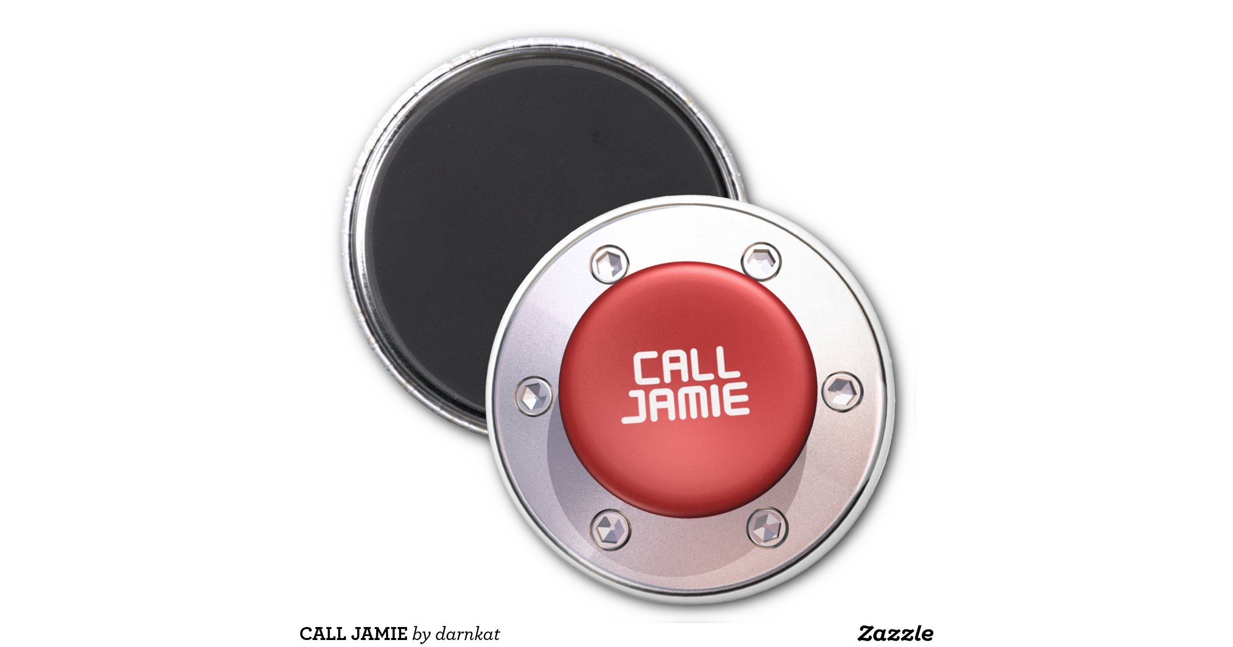 call jamie 6 cm round magnet zazzle. Black Bedroom Furniture Sets. Home Design Ideas