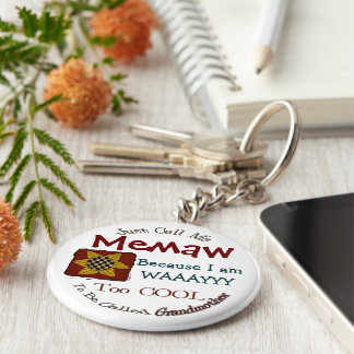 Call Me Memaw Grandma Keychain with Prim Sunflower