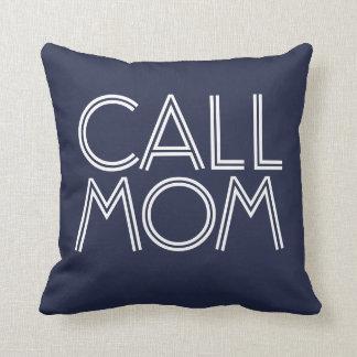 Call Mom | Navy & White Decorative Throw Pillow