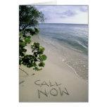 'Call Now' sand written on the beach, Jamaica Greeting Card