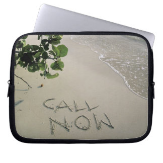 'Call Now' sand written on the beach, Jamaica Laptop Sleeve