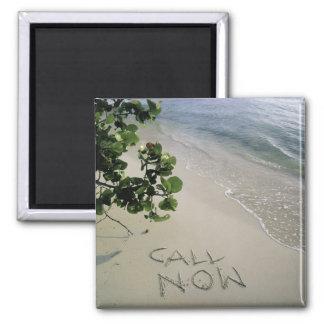 'Call Now' sand written on the beach, Jamaica Magnet