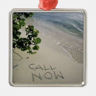 'Call Now' sand written on the beach, Jamaica Silver-Colored Square Decoration