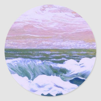 Call of the Sea Ocean Waves Sailing Seascape Round Sticker
