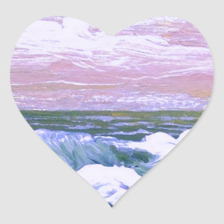 Call of the Sea Ocean Waves Sailing Seascape Heart Stickers