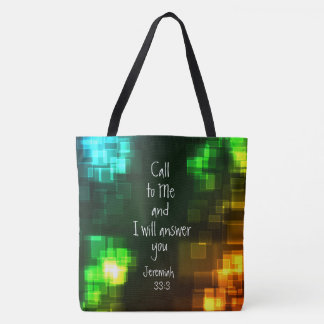 Call to Me I will Answer Bible Verse Jeremiah 33:3 Tote Bag