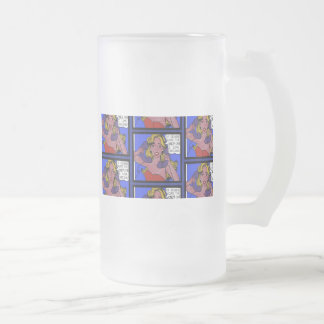 Call Waiting Comic Frosted Glass Mug
