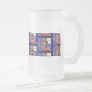 Call Waiting Comic Frosted Glass Mug