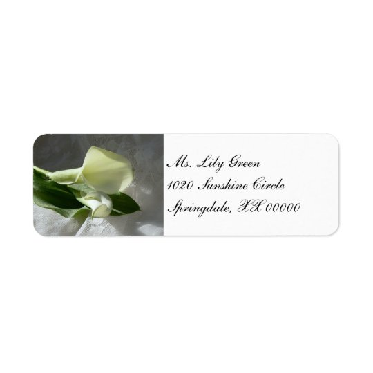 Calla Lilies on White Lace Return Address Label