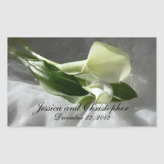 Calla Lilies on White Lace Wedding Rectangular Sticker