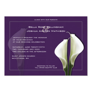 Calla Lilies Wedding Invitation on Purple