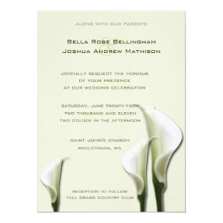 Calla Lilies White Wedding Invitation