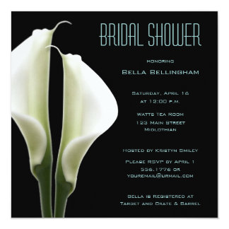 Calla Lillies Bridal Shower Invitation in Aqua