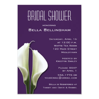 Calla Lillies Bridal Shower Invitation on Purple