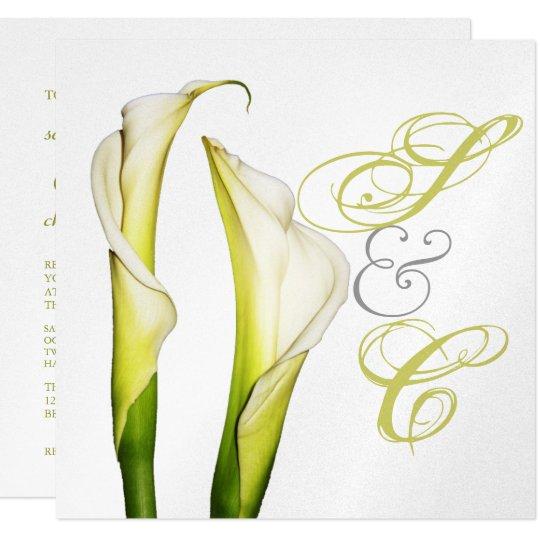 Calla lillies + swirls text, wedding Invitations