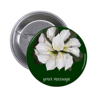 Calla lilly blooms 6 cm round badge