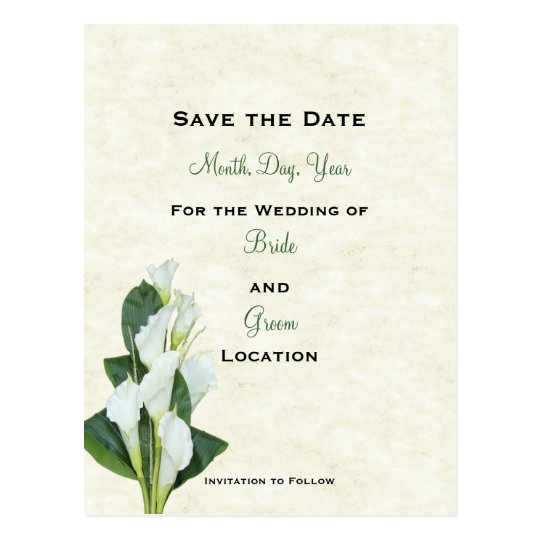 Calla Lilly Save The Date Card