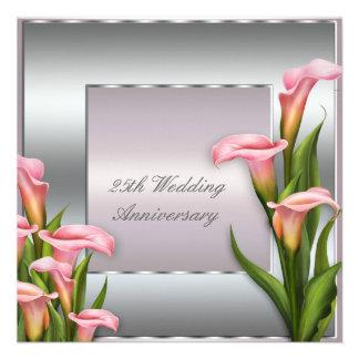 Calla Lily 25th Wedding Anniversary Party Custom Invitation