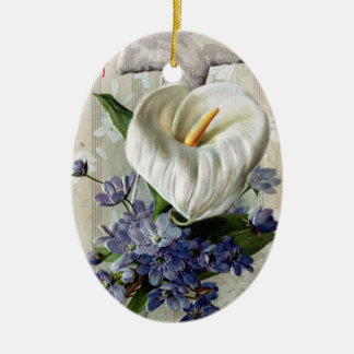 Calla Lily and Cross Vintage Easter Christmas Ornament
