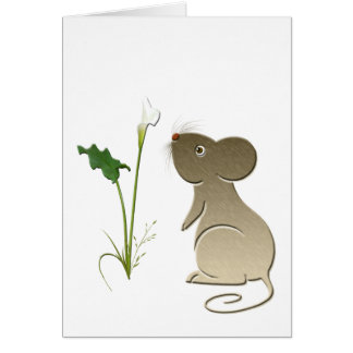 Calla lily and cute mouse greeting card