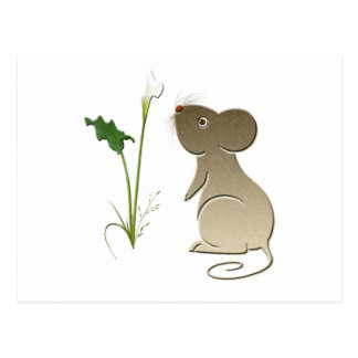 Calla lily and cute mouse postcard