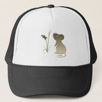 Calla lily and cute mouse trucker hat