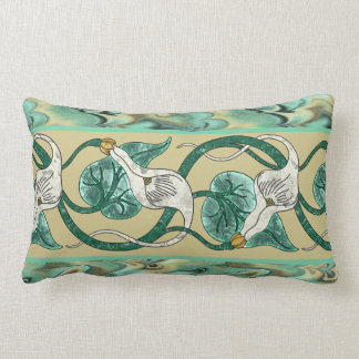 Calla Lily Border on Marbleized Background Lumbar Pillow