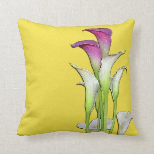 Calla Lily Bouquet Yellow Throw Pillow