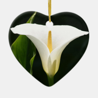 Calla Lily Double-Sided Heart Ceramic Christmas Ornament
